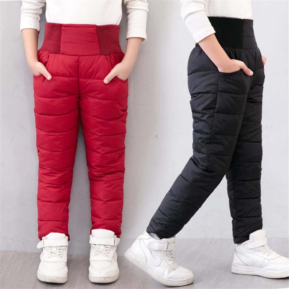 Inverno crianças calças casuais menina menino engrossar quente magro calças crianças algodão acolchoado engrossar quente elástico alta cintura longa calças