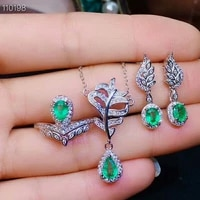 meibapj natural emerald gemstone jewelry set 925 sterling silver 3 siut green stone fine jewelry for women