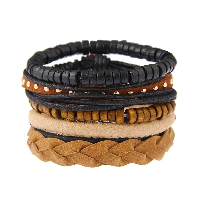 Conjunto de pulseras con remaches para hombre, brazaletes de cuero tejido negro,...