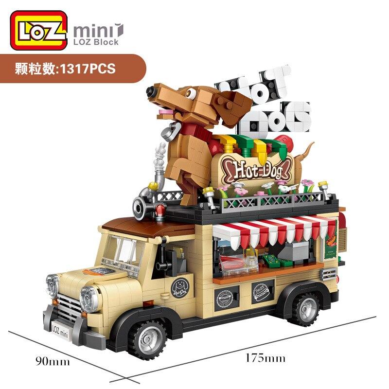 LOZ Mini bloques nuevo modelo de coche de perro caliente ladrillos de construcción para Juguetes Divertidos para niños brinquedos crear regalos para niños 1116