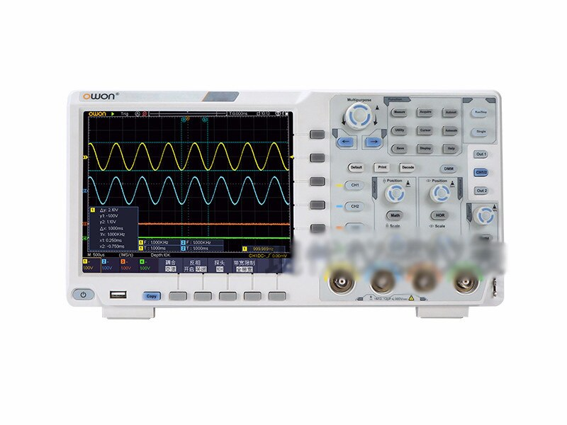 OWON XDS3064E 60 MHz 4CH 8 bitsTouchscreen osciloscopio Digital de bajo ruido con bolsa