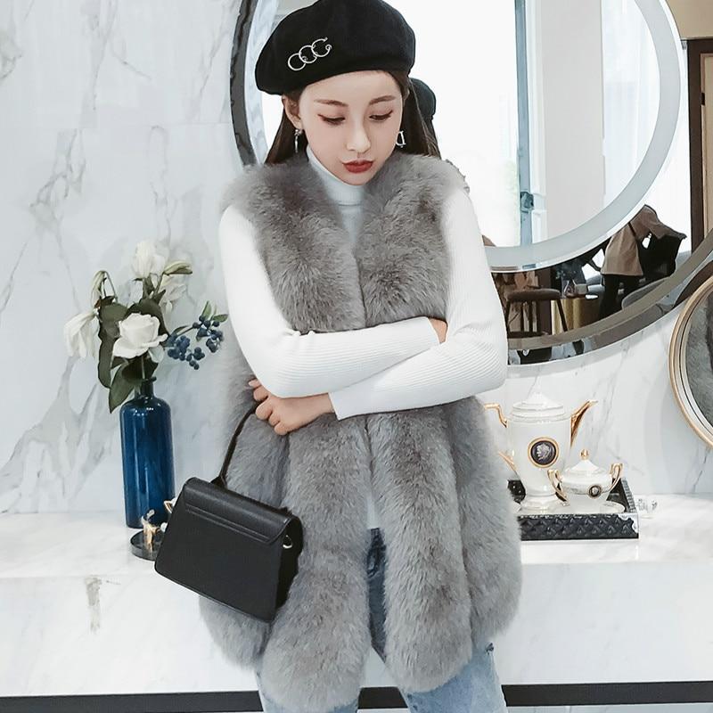 Winter Vest Warm Luxury Real Fox Fur Vests for Women Fur Coat Women's Coats Jacket Elegant Overcoat Manteau Femme Hiver ZL597