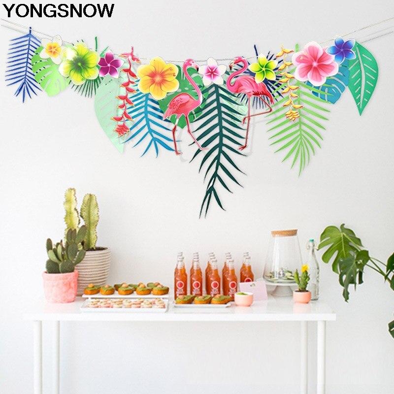 3M de longitud Flamingo hojas flores guirnalda de papel de actualidad Fiesta Temática colgando Banner de boda cumpleaños decoración de fiesta hawaiana
