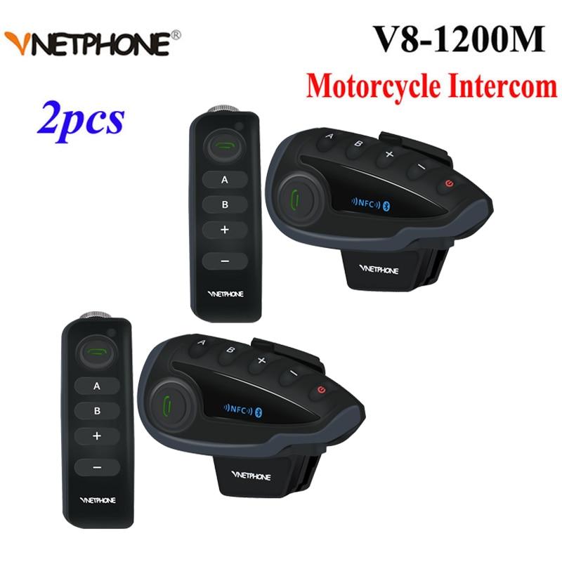 Vnetphone v8 intercomunicador de motocicleta, 2 peças, para capacete, nfc, controle remoto, bluetooth, interfone, 5 pilotos, 1200m, pleno duplo, falando