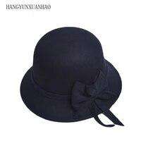 winter women solid imitation wool bowknot fedoras felt cloche hats fedoras vintage western bucket hats warm female bowler hats