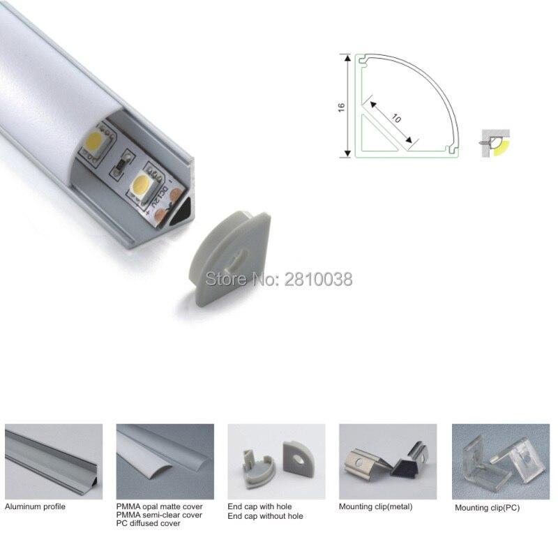 500 x 2M Sets/Lot V style led alu housing profile and anodized silver 90 degree corner profile led strip kitchen corner lamp