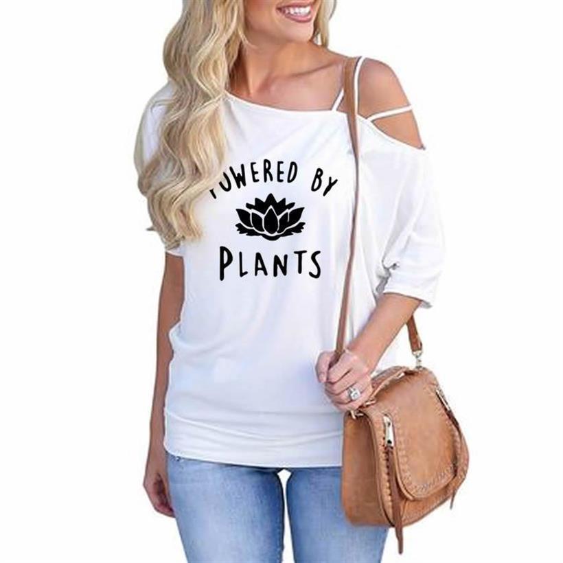 Nueva Camiseta con estampado de letras veganas para mujer manga de hombro...