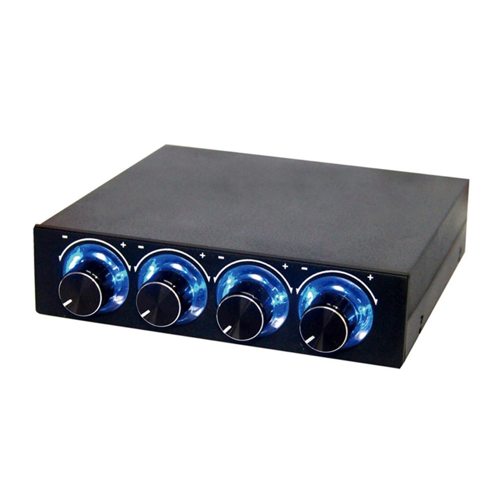 4 Channel Turn Knob Multi-Fan Cooling Controller Front Panel 3.5 Inch 4 Pin Connector CPU Temp PC Case Fan Speed Controller