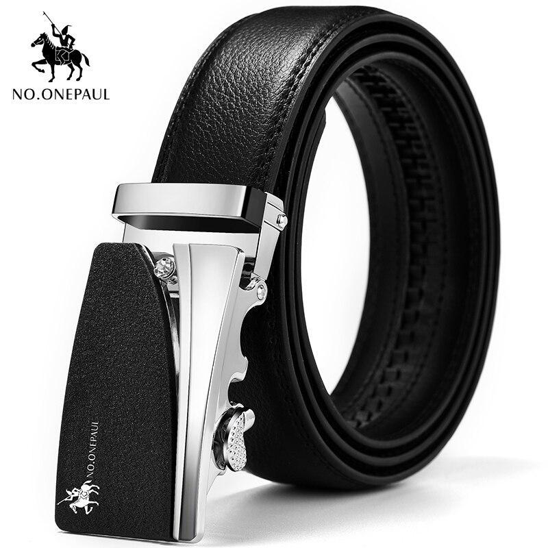 NO.ONEPAUL высококачественный кожаный ремень для мужчин модный тренд черный и серебристый Ретро ремень с автоматической пряжкой для мужчин, топ...