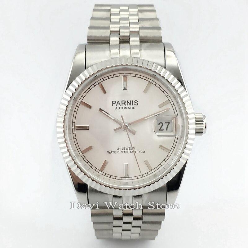 Parnis 36mm caja de acero inoxidable Correa esfera plateada miyota relojes automáticos para hombres y mujeres