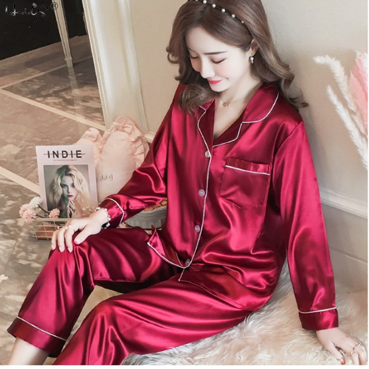 Womens Silk Satin Pajamas Pyjamas Set Sleepwear Pijama Couple Pajamas Suit Female Sleep Two Piece Set Men Loungewear Plus Size