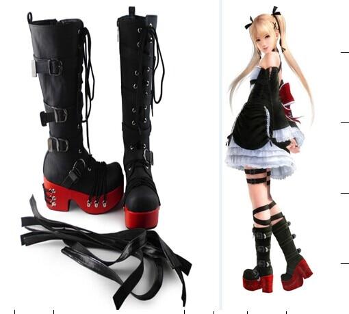Japanese Harajuku High Platform Heels Boots Sweet Princess Lolita Cosplay Cross-tied Knee Boots Side Zip