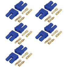 5 Sets hombre femenino RC EC2 2,0mm Lipo conector de batería enchufe de bala dorada envío gratis