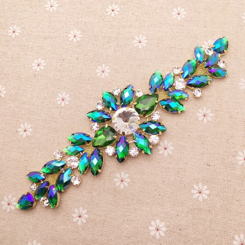 18.2*5.5cm Green AB crystal Golden Base rhinestone applique DIY wedding evening dress Decoration shoulder sewing on Rhinestones
