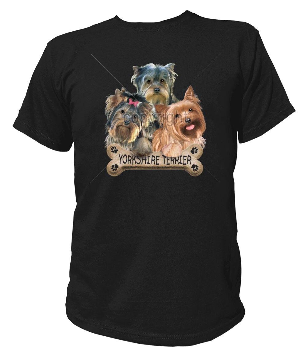 Camiseta Hunde Yorkshire Terrier Knochen Welpe Welpen Hund Hunderasse Rasse 100% de algodón nuevo T camisas