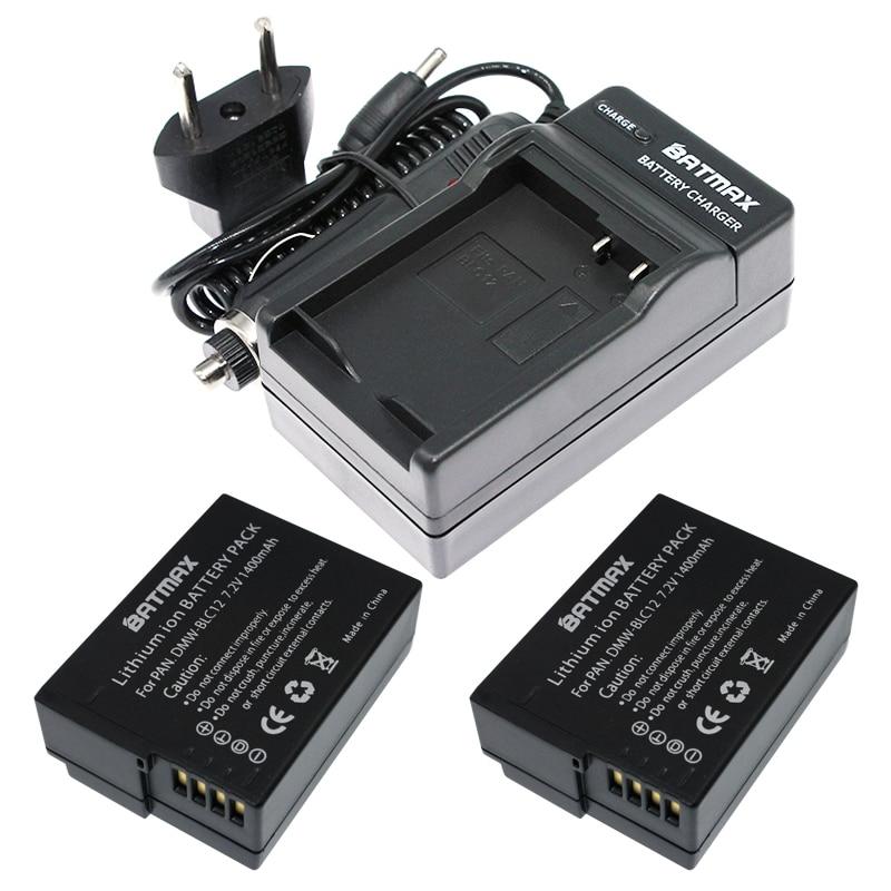 2 (упаковка) DMW-BLC12, BLC12E, BLC12PP, BLC12 аккумуляторы + зарядное устройство для Panasonic Lumix FZ1000, FZ200, FZ300, G5, G6, G7, GH2, DMC-GX8