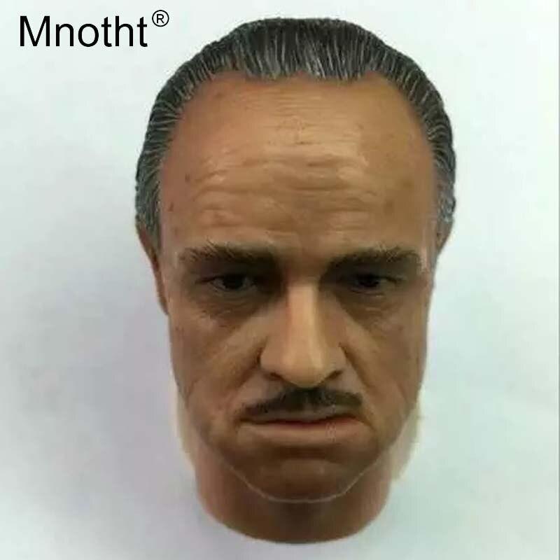 Mnotht cabeza de soldado masculino esculpir juguetes escala 16 padrino Malone Brando modelo de talla de cabeza para 12 pulgadas colecciones de figuras de acción m3