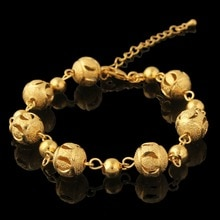 Hot Sale Vintage Bead Charm Bracelets & Bangles Wholesale gold color Fashion bracelet Brand Wedding Jewelry For Women