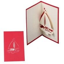 1PC 3D Pop Up voilier carte postale carte de voeux à la main anniversaire Valentine Invitation