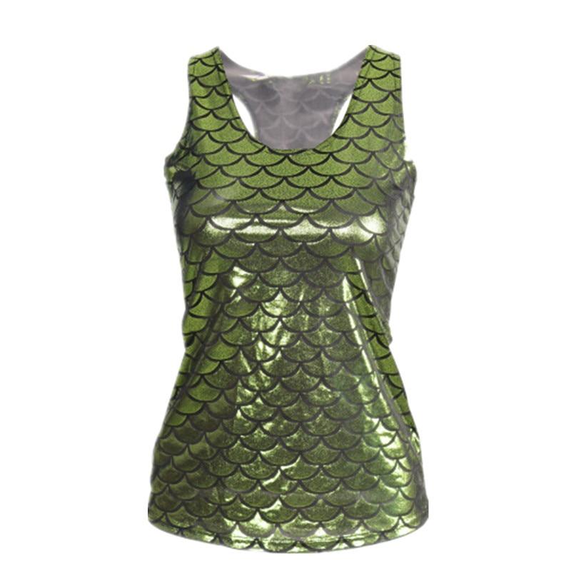 VI E145 Moda 2015 Mulheres Da Moda Camisola Sem Mangas Sereia 3D Digital Impresso Top curto Coletes À Prova de Senhoras Tops Camisa Tanque