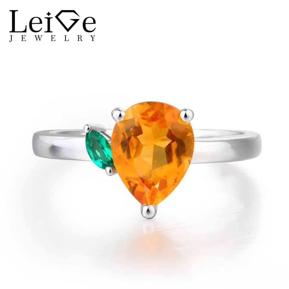 Joyería de Lieja Natural citrino anillo de compromiso pera corte amarillo piedra preciosa sólida plata 925 regalos de aniversario para niña