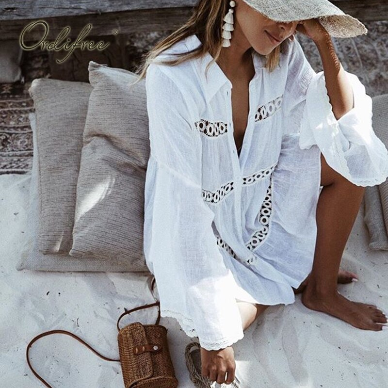 Ordifree 2019 Summer Women Sexy Shirt Dress Long Sleeve White Lace Short Tunic Beach Dress