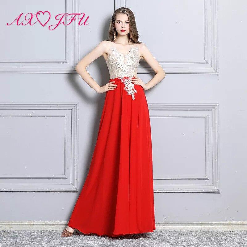 AXJFU europeo y americano profundo cuello pico largo modelo perspectiva traje blanco encaje v cuello rojo gasa sin mangas playa vestido de noche