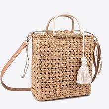 2 renk Içi Boş saçaklı dokuma hasır çanta Ahşap saplı doğal renk alışveriş çantası Kadın moda püskül postacı çantası çanta
