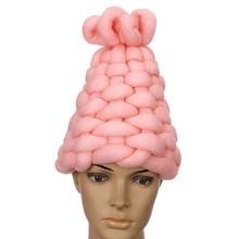 Casquettes tricotées faites à la main   Laine Super épaisse, couvre-chef chauds pour hiver, bonnets de marque pour femmes, 1 pièce 2017