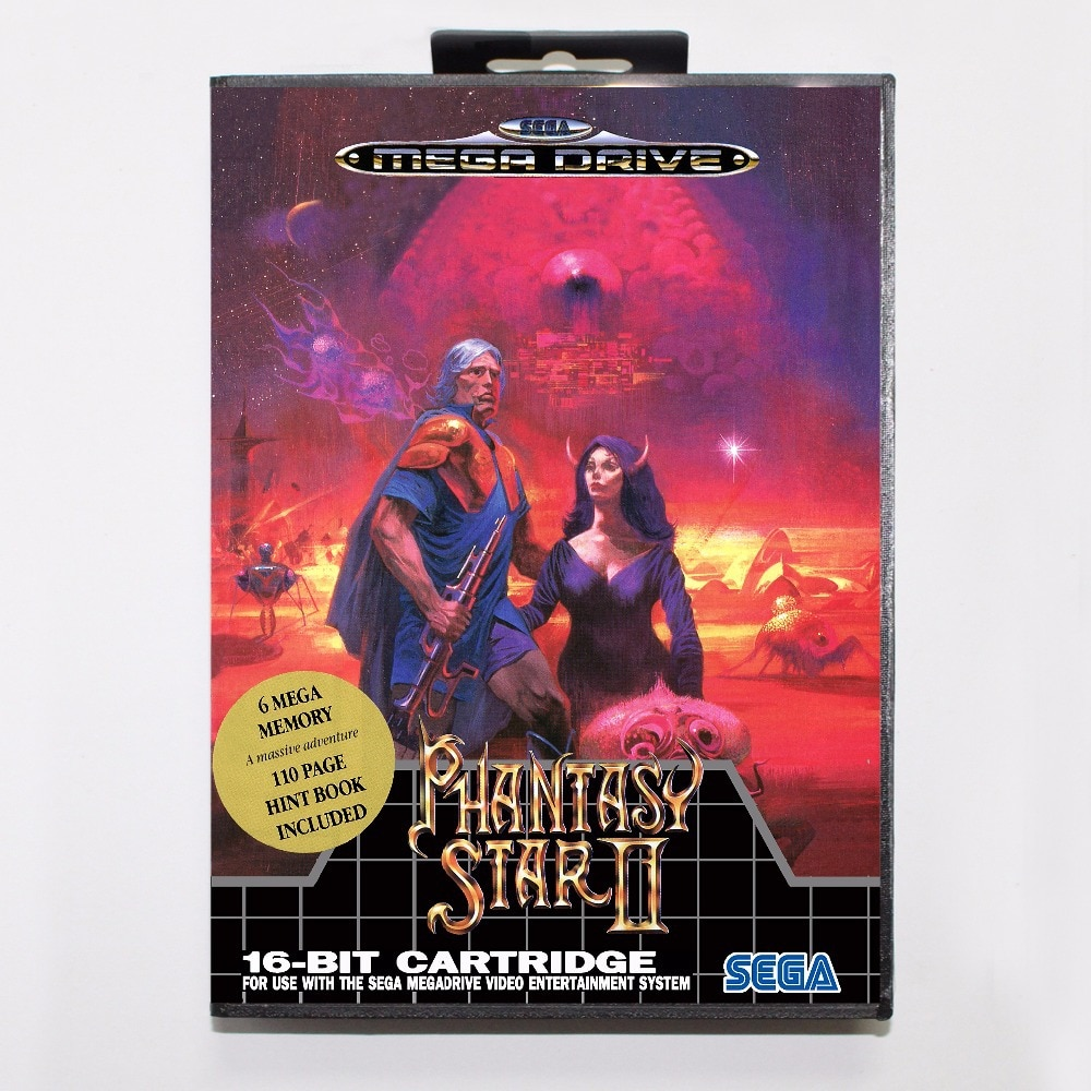 Cartucho de juego Phantasy Star II tarjeta de juego de 16 bits MD con caja al por menor para Sega Mega Drive para Genesis