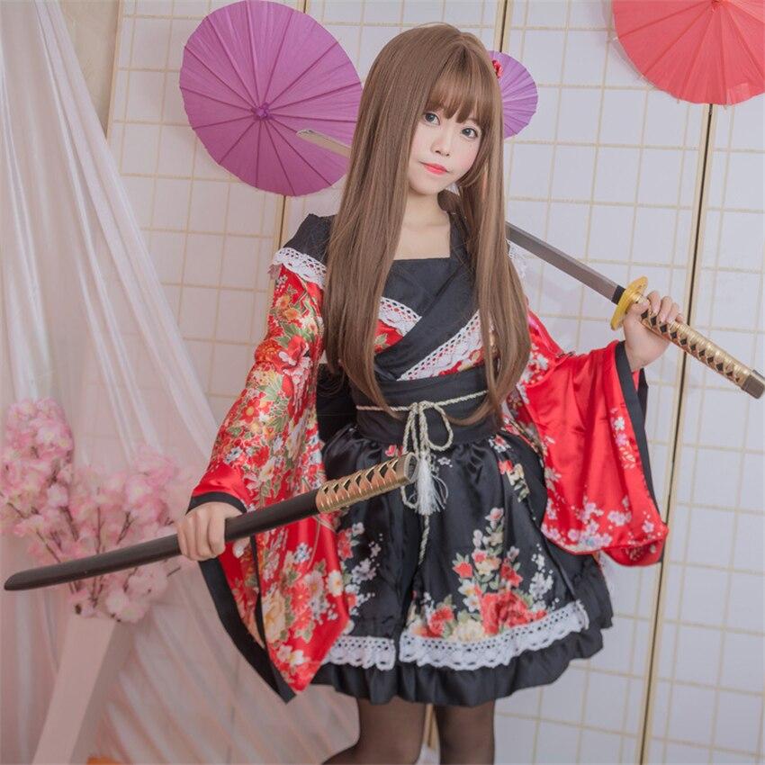 Chicas Lovelive Kimono vestido japonés Kawaii Anime Cosplay disfraces Floral de lujo Oriental Yukata mujer encaje Lolita fiesta ropa