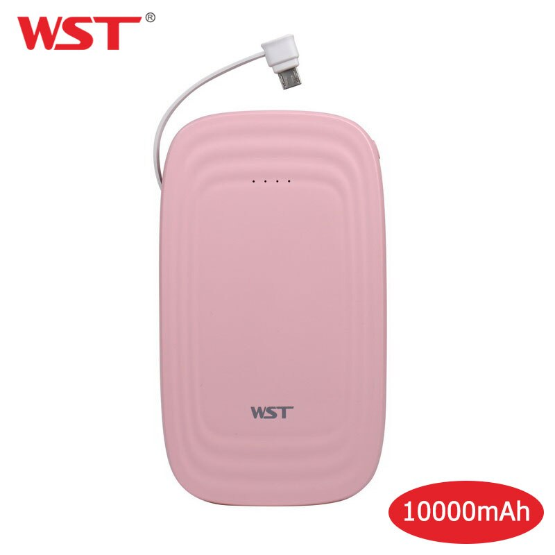 Wst 10000 mah portátil power bank ultra magro led lanterna celular bateria externa bloco embutido cabo duplo usb powerbank
