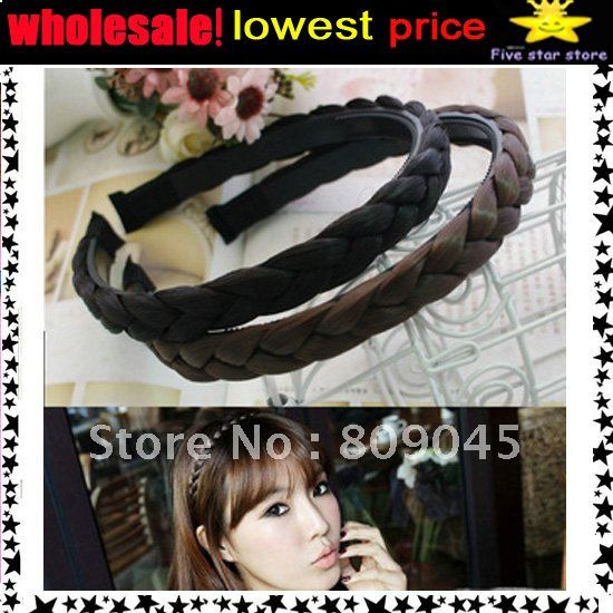 50%discount,36Pcs/lot ,3color,new arrival Wholesale Wigs Braid Headband /Hairband Color hair accessories HB001-3
