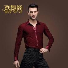 Nieuwe Latin Dance Shirts Mannelijke Volwassen Kleding Square Dance Top Moderne Rumba Cha Cha Samba Tango Salsa Dance Shirt wijnrood, blauw