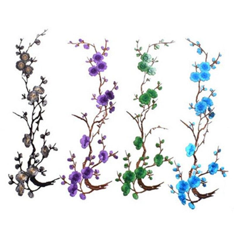 Наклейки для одежды с цветочной аппликацией сливы, тканевые наклейки, утюжок для шитья, инструменты для шитья