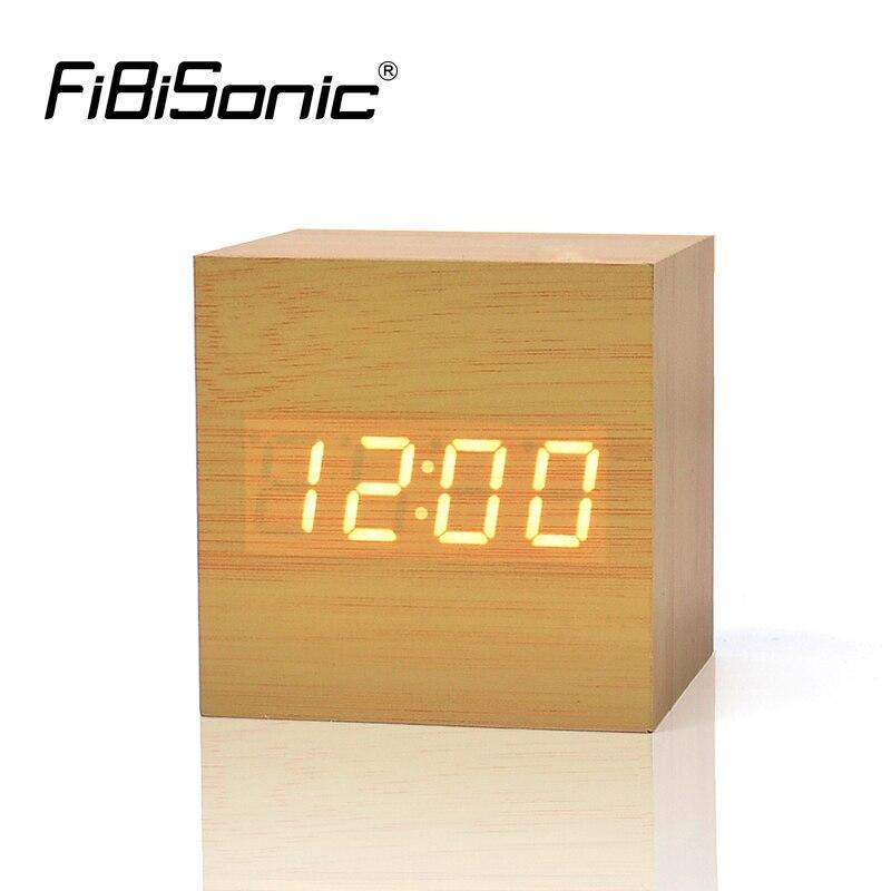 FiBiSonic Wood Wooden Digital LED Alarm Clock with Temperature Voice Control LED Electronic Desktop Table Clocks