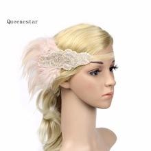 Banda de pelo de plumas de lentejuelas con cuentas de diamantes de imitación 1920s Vintage Gatsby, tocado de fiesta para mujeres, diadema elástica de plumas, tocado de fiesta