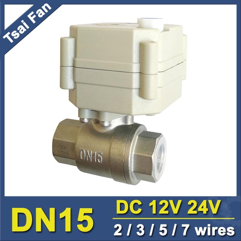 DC12V/24V الفولاذ المقاوم للصدأ 1/2 ''بمحركات الكرة صمام مع تجاوز مؤشر اليدوي و 2 طريقة DN15 الكهربائية رافعة