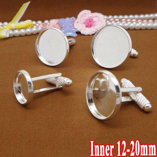 10 pièces with12-20mm en gros argent plaqué français boutons de manchette/boutons de manchette blanc camée lunette Cabochon réglage disque plateau