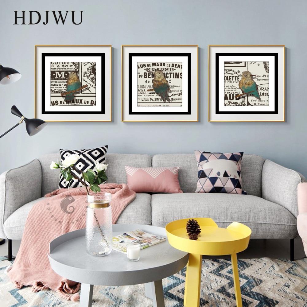 Pósteres artísticos simples de post-morden con decoración de aves, pósteres imágenes para pared para sala de estar DJ242