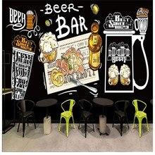 Custom photo wallpaper Hand painted American beer graffiti wallpaper bar KTV restaurant Barbecue shop wallpaper custom mural