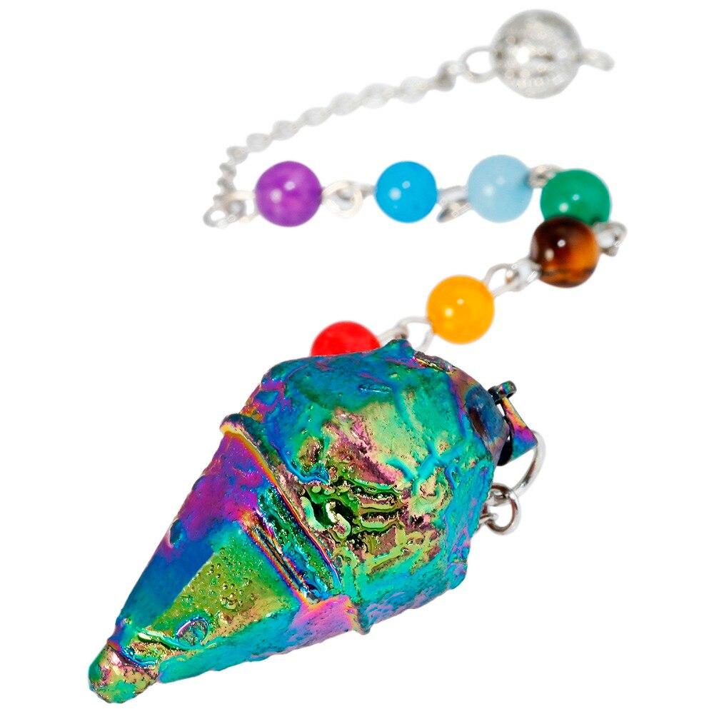SUNYIK Радужный титановый кристалл Кварцевый 7 бусина маятник с чакрами исцеляющий рейки приданое гадания