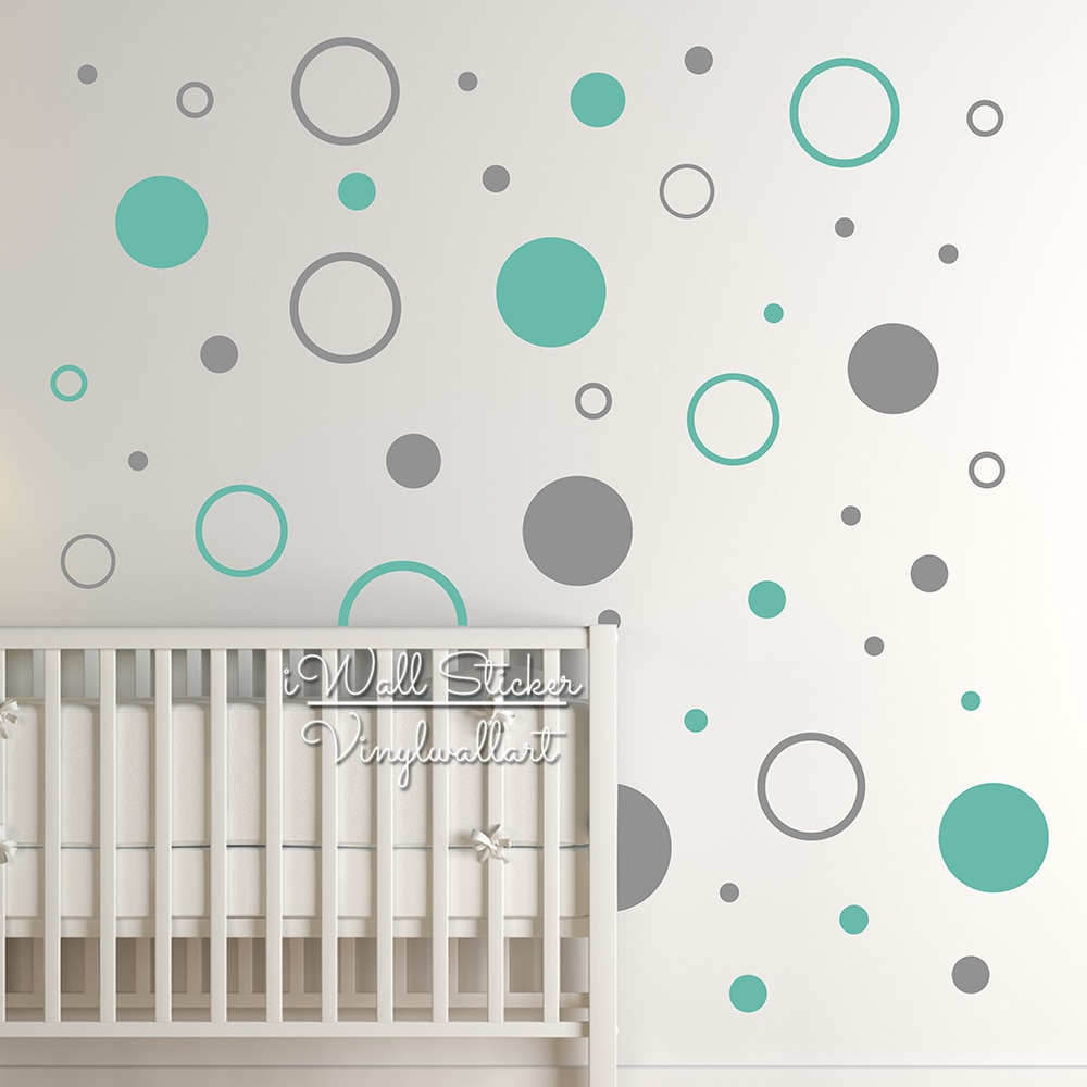 Настенные наклейки в горошек для детской комнаты, настенные наклейки в горошек для детской комнаты, декор в горошек, легкое настенное искус...