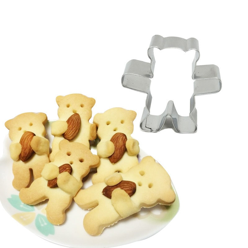 3d cortador de biscoito molde anime dos desenhos animados mini urso aço inoxidável doces biscoito molde bolo ferramentas cozimento diy cortadores fondant