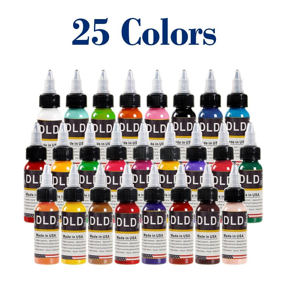 Tinta de tatuaje para todo propósito 25 colores primarios suministros de tatuaje de pigmento permanente Color de pintura corporal 1 onza (15 mililitros)