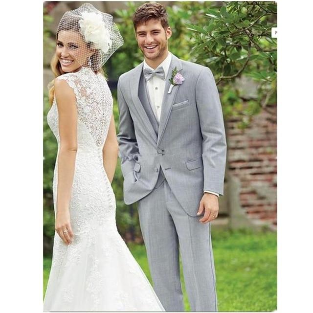 2017 encantadores trajes de negocios gris claro Vintage novio esmoquin mejores hombres boda/trajes de graduación (chaqueta + Pantalones + chaleco + corbata)