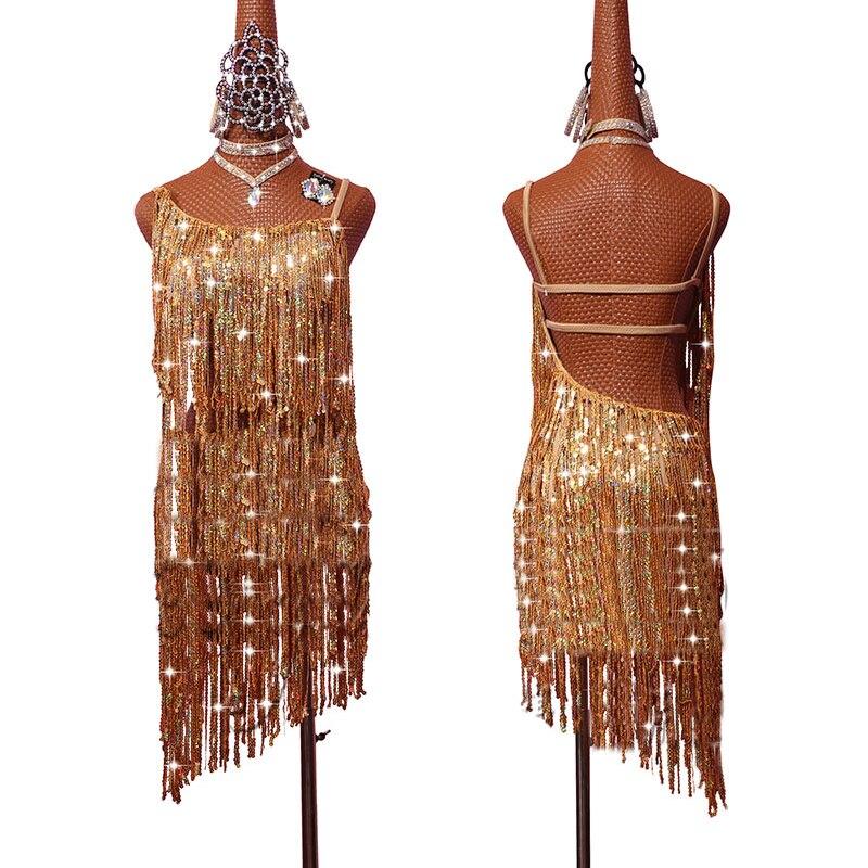 2019 Sexy Ladies Latin Dance Dress For Fashion Women Sequin Tassel Stage Standard Modern Perform Training Salsa Dress DL3702