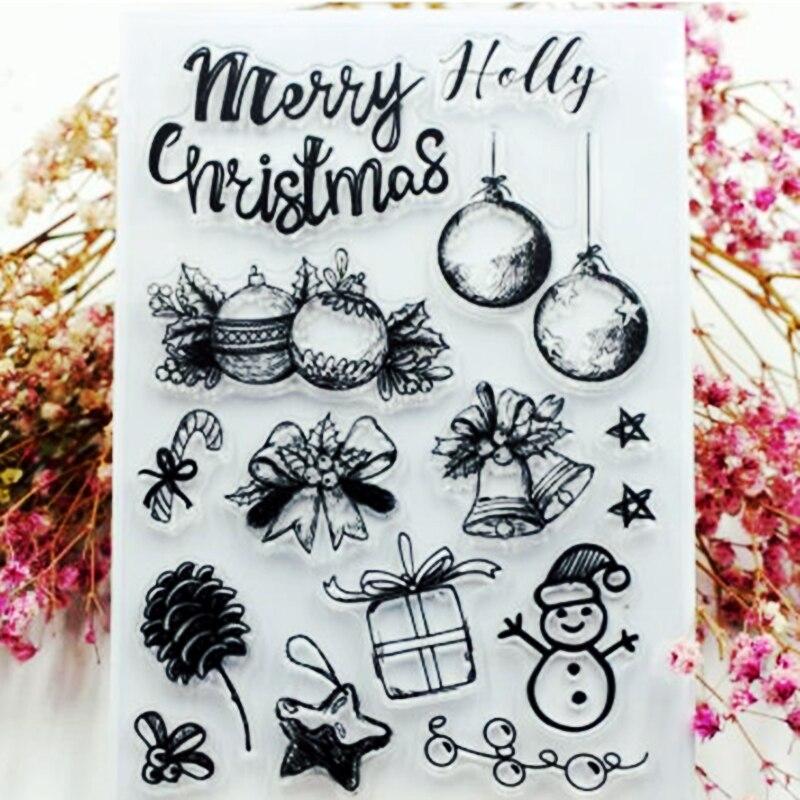 SCS12 Cartões de Natal Silicone Claro Selos para Scrapbooking DIY Álbum Decoração Pasta Embossing Craft Carimbo Moldes Ferramenta