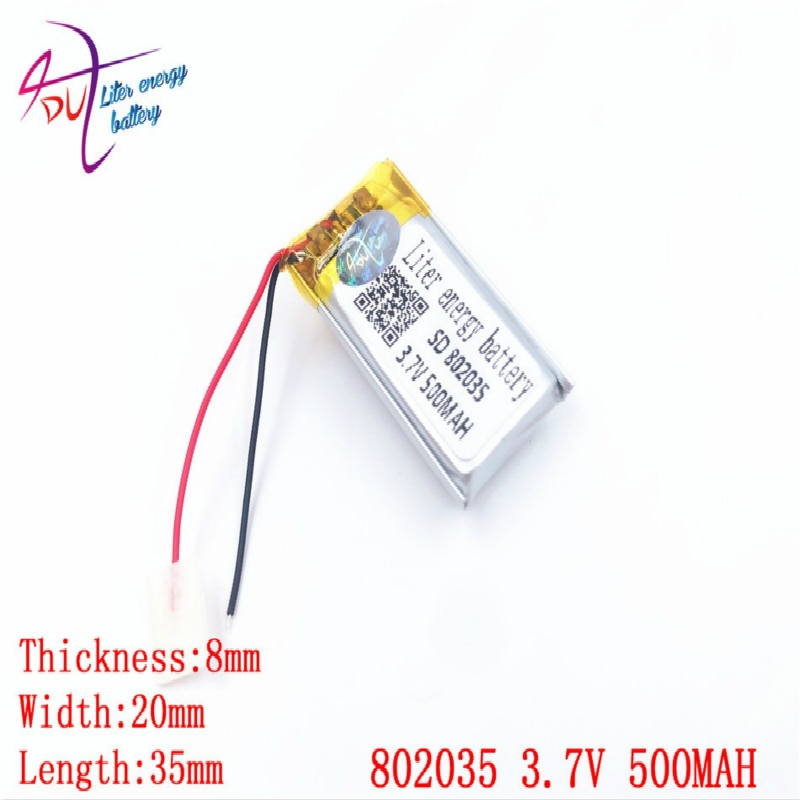 Venta al por mayor 10 Uds 3,7 V 500mAh 802035 de polímero de litio LiPo batería recargable para Mp3 Mp4 PAD DVD de e-book bluetooth