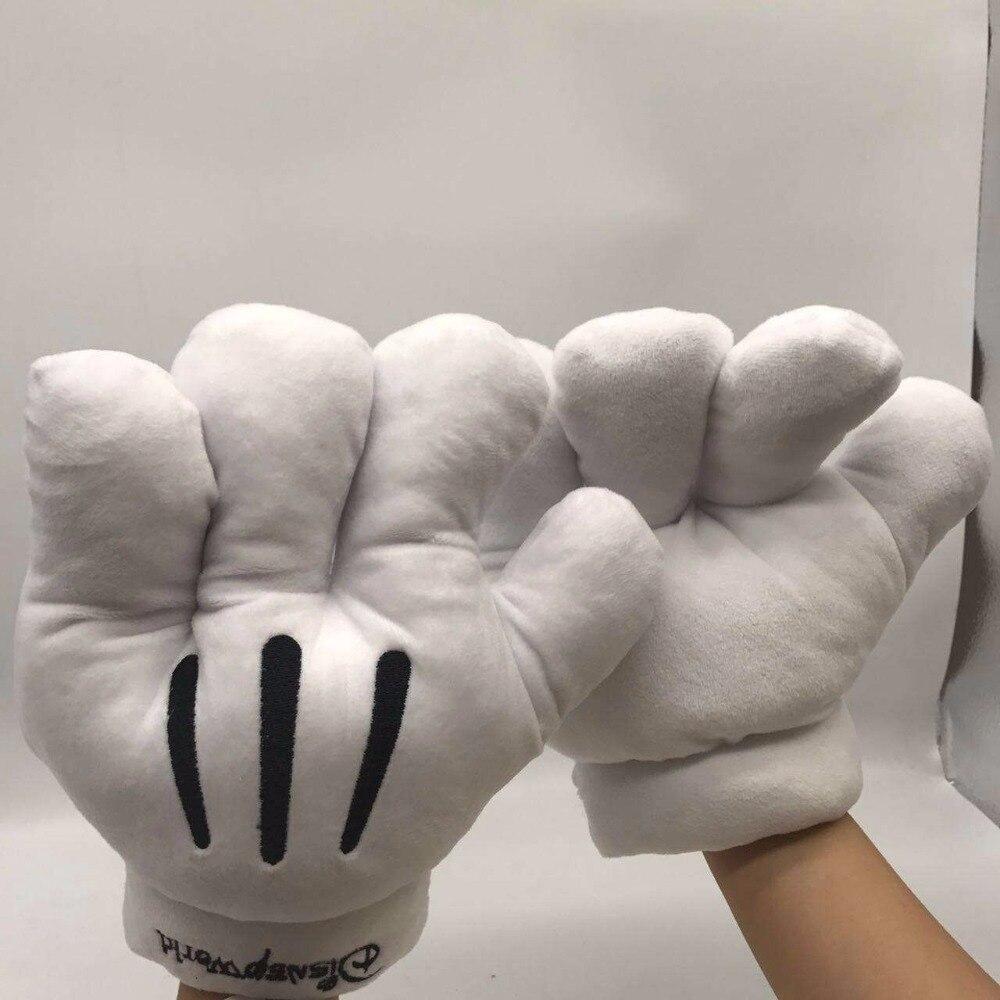 22cm barato presente de natal quente pelúcia luvas mickey mouse flanela branco grande luva dos desenhos animados inverno almofada travesseiro brinquedo